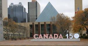 Ayuntamiento Edmonton Canadá con la muestra 4K de Canadá 150