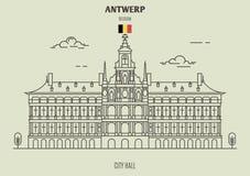 Ayuntamiento en Amberes, Bélgica Icono de la señal stock de ilustración