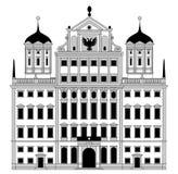 Ayuntamiento en Augsburg, fachada en dise?o plano stock de ilustración