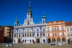 Ayuntamiento en Ceske Budejovice, República Checa Fotografía de archivo libre de regalías