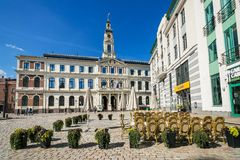 Ayuntamiento en el cuadrado de ayuntamiento en Riga Foto de archivo