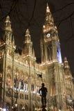 Ayuntamiento en vinna en noche foto de archivo
