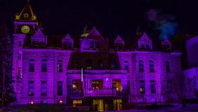 Ayuntamiento histórico en colores de la Navidad fotos de archivo libres de regalías