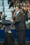 Ayuntamiento Obama con Schwarzenegger y Villaraig foto de archivo
