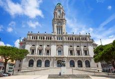 Ayuntamiento Oporto en el cuadrado de Liberdade, Oporto, Portugal imagen de archivo libre de regalías