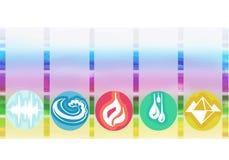 Ayurveda标志和五个元素 免版税图库摄影