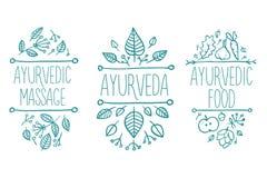 Ayurveda医学,芳香疗法蜡烛,水,碗,油,茶,瓶,花,叶子,精神温泉集合 手拉的自然疗法ve 免版税库存图片