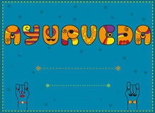 Ayurveda. Artistic font. Invitation card. Inscription Ayurveda. Artistic font. Invitation card. Funny orange Letters with blue background. Cartoon hands looking Stock Photos