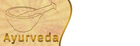 Ayurveda Banner with Brown Grunge. Banner image of Ayurveda with brown grunge and burst stock illustration