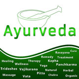 Ayurveda Heding and Text - Green. An image with Ayurveda text with mortar and related keywords royalty free illustration