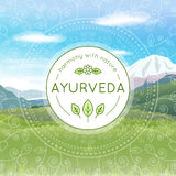Ayurveda-Illustration mit Gebirgslandschaft Stockfoto