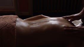 Ayurveda Massage concept. Beautiful young woman reciving relxing Massage of Back from Professional Masseur, Abyanga
