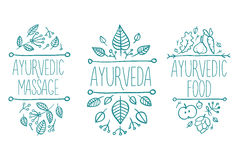 Ayurveda medicine, aromatherapy candle, water, bowl, oil, tea, bottle, flower, leaf, spirit spa set. Hand drawn natural therapy ve Royalty Free Stock Image