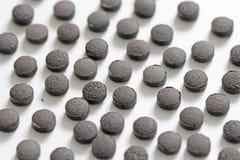 Ayurveda piller Växt- naturliga indiska piller, Ayurveda behandling Ayurvedic medicinört Bakgrund av pillret eller svart brunt arkivbild