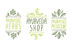 Ayurveda product labels Stock Images