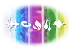Ayurveda-Symbole und fünf Elemente Stockbild