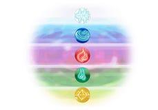 Ayurveda-Symbole und fünf Elemente Stockfoto