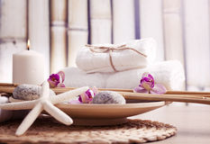 Ayurveda symbols for relaxation and inner beauty Royalty Free Stock Images