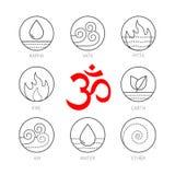 Ayurveda symbolsuppsättning, tunt vetortecken vektor illustrationer