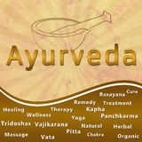 Ayurveda text keywords Mortar with Brown Grunge Stock Photos