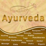 Ayurveda text keywords Mortar with Brown Grunge Stock Photos