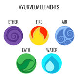 Ayurveda vector elements and doshas icons isolated on white. Vata with ether and air, pitta with fire and water signs, kapha earth doshas body types Royalty Free Stock Photos