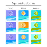 Ayurveda vector illustration. Ayurvedic elements. Set of flat icons with ayurveda doshas. Royalty Free Stock Photos