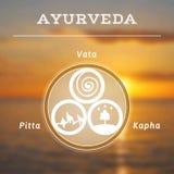 Ayurvedaillustratie Ayurvedadoshas Vage fotoachtergrond vector illustratie