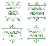 AYURVEDIC AROMETHERAPY, MEDICINE, OIL, MASSAGE. Set of typographyc VECTOR elements, hand drawn letters. Green lines Royalty Free Stock Image