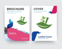 Ayurvedic brochure flyer design template. With abstract photo background, minimalist trend business corporate roll up or annual report Royalty Free Stock Images