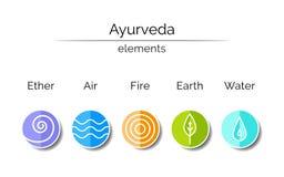 Ayurvedic-Elemente: Wasser, Feuer, Luft, Erde, Äther Stockfoto