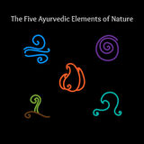 Ayurvedic elements symbols. Set of hand drawn vector illustrations of five ayurvedic element symbols. Fire, water, earth, air and ether icons Stock Images