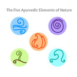 Ayurvedic elements symbols. Set of hand drawn vector illustrations of five ayurvedic element symbols. Fire, water, earth, air and ether icons Royalty Free Stock Images