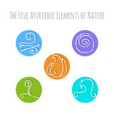 Ayurvedic elements symbols. Set of hand drawn vector illustrations of five ayurvedic element symbols. Fire, water, earth, air and ether icons Royalty Free Stock Photo