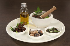 Ayurvedic Herbs with Mortar and Pestle Stock Photos