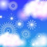 Ayurvedic lotusblomma och snöflingor på himmelbakgrund Royaltyfri Bild