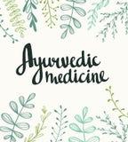 Ayurvedic medicin - stilfull bokstäver på den naturliga bakgrunden royaltyfri illustrationer