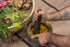 Ayurvedic medicine, the manufacture of herbal bags stock photography