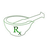 Ayurvedic Mortar with RX. Ayurvedic mortar in green with rx symbol in between vector illustration