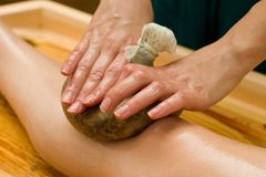 Ayurvedic oil massage Stock Photos