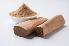 Ayurvedic sandalwood powder, oil and paste Stock Photo