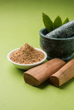 Ayurvedic sandalwood powder, oil and paste Stock Images