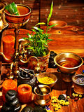Ayurvedic spa massage still life royalty free stock images