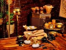 Ayurvedic spa massage still life. Luxury ayurvedic spa massage still life. Oil lamp Stock Images