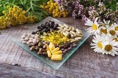 Ayurvedic växt- preventivpillerar som sunt livbegrepp royaltyfri fotografi