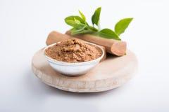 Ayurvedicchandan or sandalwood paste, powder and oil royalty free stock photos