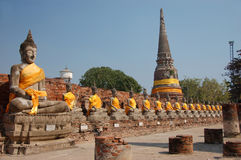 Ayuthaya. Buddhas in a row in Ayuthaya, Thailand Royalty Free Stock Photo