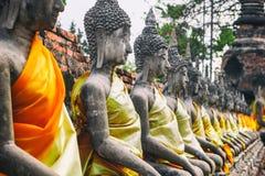 Ayuthaya, Tailândia - 13 de fevereiro de 2014: Fileiras da estátua Wat Yai Chaimongkhon de buddha, imagem de stock