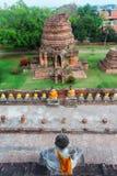 Ayuthaya, Tailandia - 13 febbraio 2014: Vista superiore da Wat Yai Chaimongkhon Fotografie Stock Libere da Diritti
