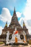 Ayuthaya, Thaïlande - 13 février 2014 : Fermez-vous de Wat Yai Chaimongkhon Image stock